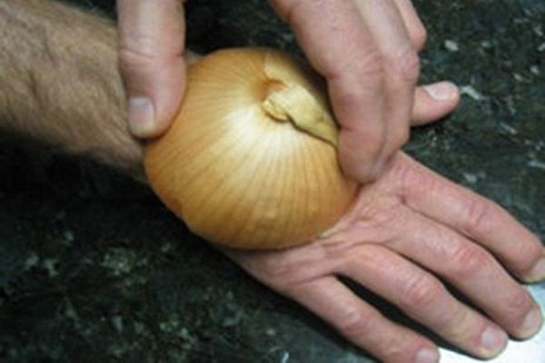 He pressed an onion on his hand for a genius reason. I had no idea it actually works!