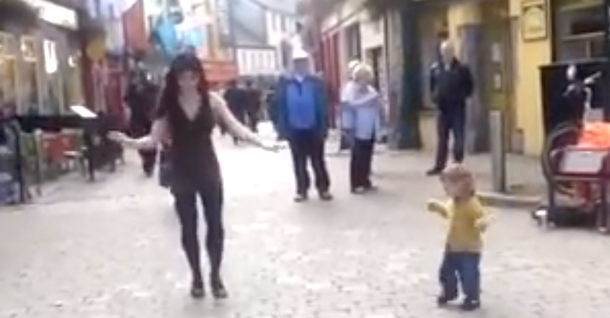 Little girl saw an irish dancer on the street, and joined her for the cutest dance ever