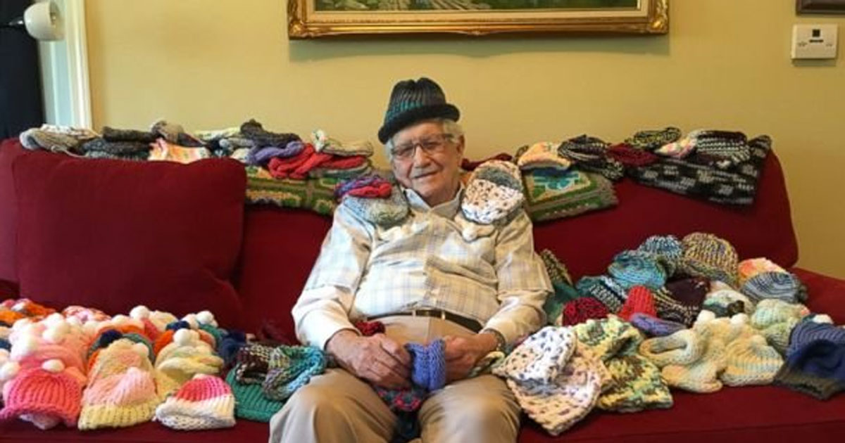 A 86 Year-old man taught himself sewing so he can sew warm hats for infants at a neonatal intensive care unit