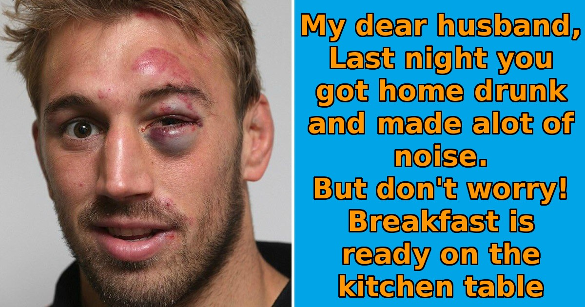 Jack woke up with black eye and a crazy hangover, found his wife's strange note and started crying