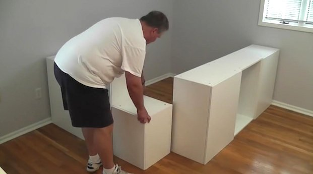 He bought six IKEA kitchen cabinets. What he did with them dropped my jaw to the floor!