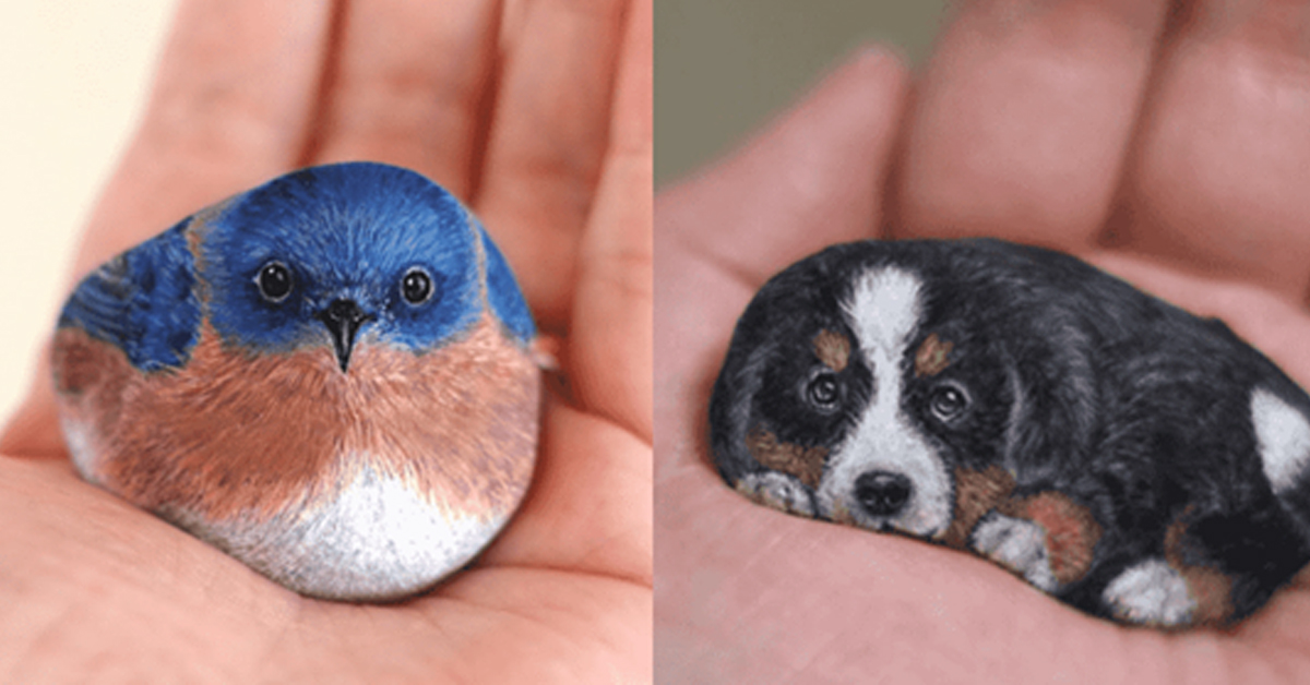 An artist brings life to ordinary stones with the help of cute and perfect animal paintings
