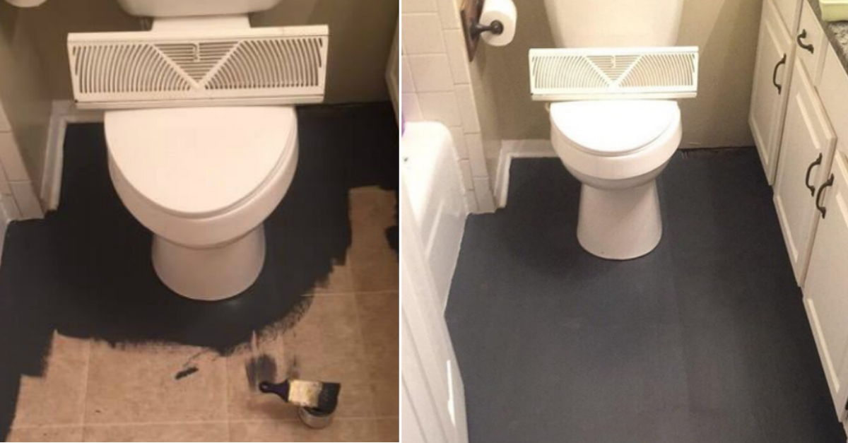 A woman stunned DIY stars all over the world when she replaced the bathroom floor with black paint and fake tile painting